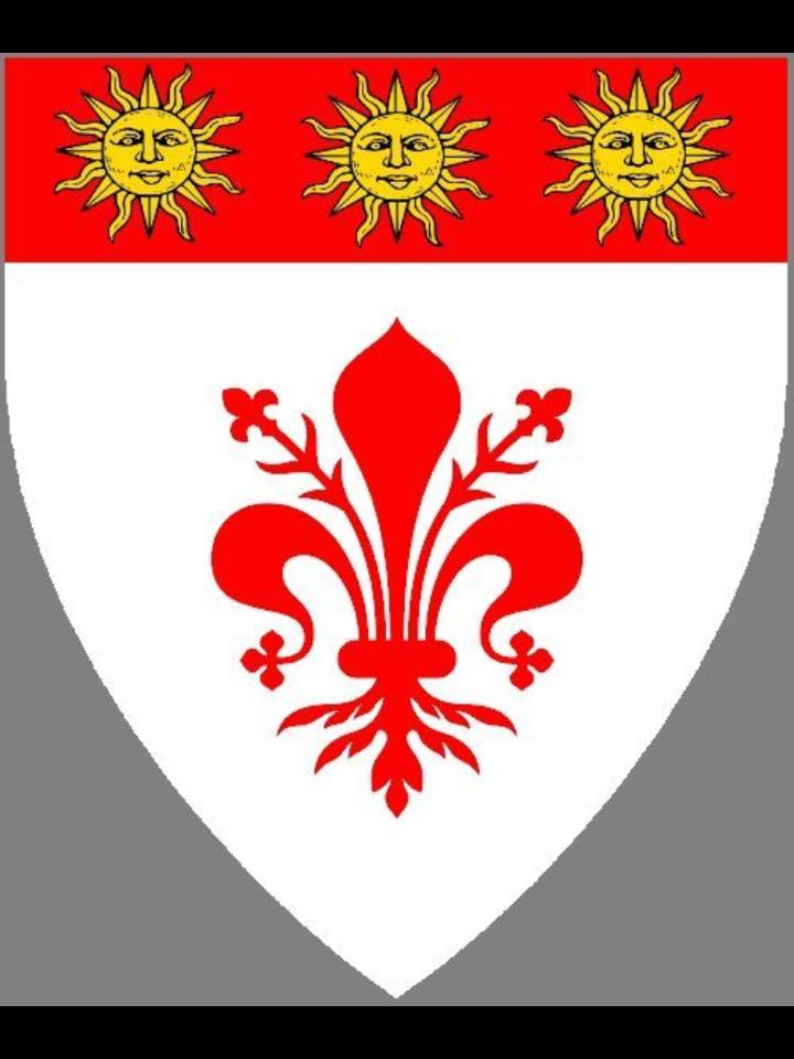 Argent, a fleur-de-lys and on a chief gules three suns in their splendor Or.