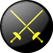 SCA Rapier Marshal Badge: Sable, two rapiers in saltire Or.