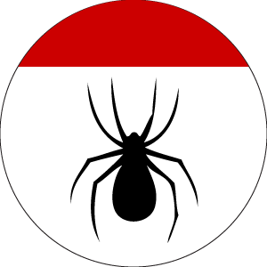 SCA Webminister Badge: Argent, a spider tergiant Sable a chief Gules.